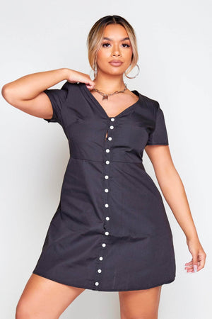 Black V Neck Button Through Skater Dress