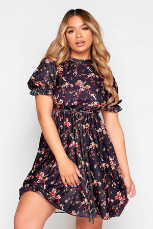 Black Ditsy Floral Tie Waist Smock Dress