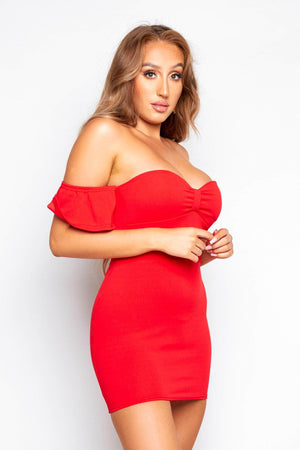 Red Front Knot Bardot Mini Dress