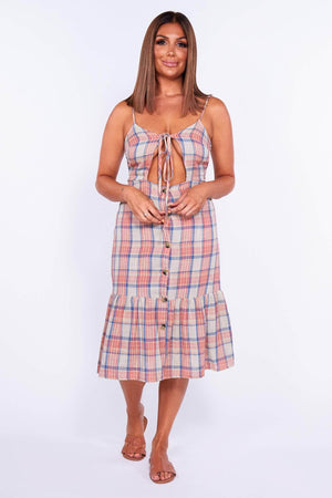 Red & Blue Checked Cut Out Frill Dress