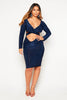 Navy Slinky Plunge Cut Out Dress