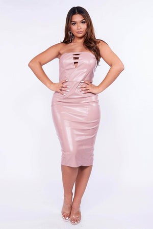 Blush Pink Pu Bandeau Midi Dress