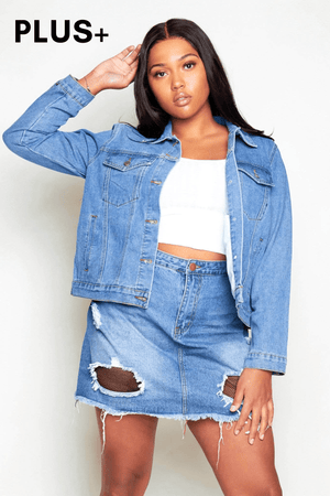 Plus+ Denim Ripped Fishnet Mini Skirt