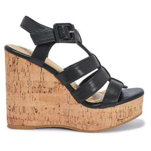 Black Pu Caged Wedge Sandals