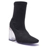 Black Suede Sock Boots with Perspex Heel