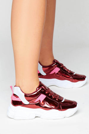 Wine Reflective Chunky Trainers with Metallic Laces