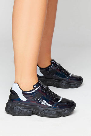 Black Patent Chunky Running Trainers