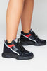 Black Pu & Suede Chunky Trainers with Metallic Trim