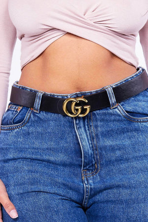 Black Double G Buckle Belt