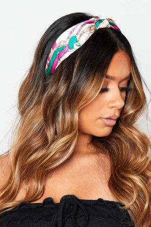 Green & Pink Chain Print Satin Headband