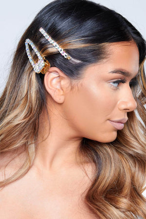 Silver Diamante Hair Clip & Slide