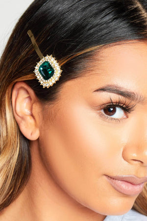 Green Gem Diamante Hair Slide