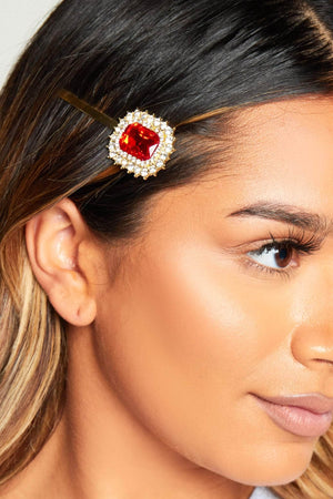 Ruby Gem Diamante Hair Slide