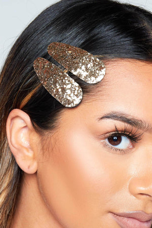 Gold Glitter Hair Slide Multipack