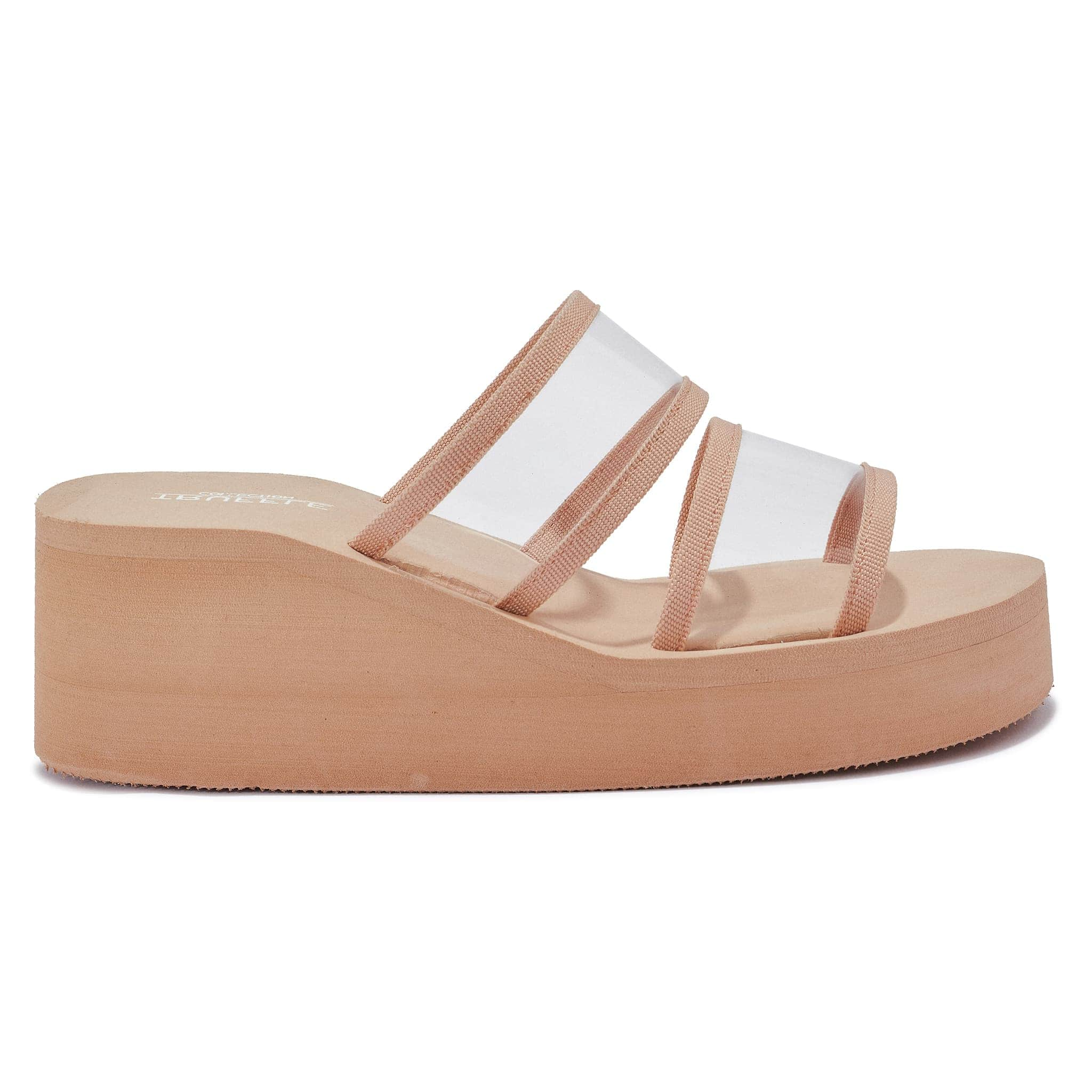 Nude Wedge Mules with Perspex Straps