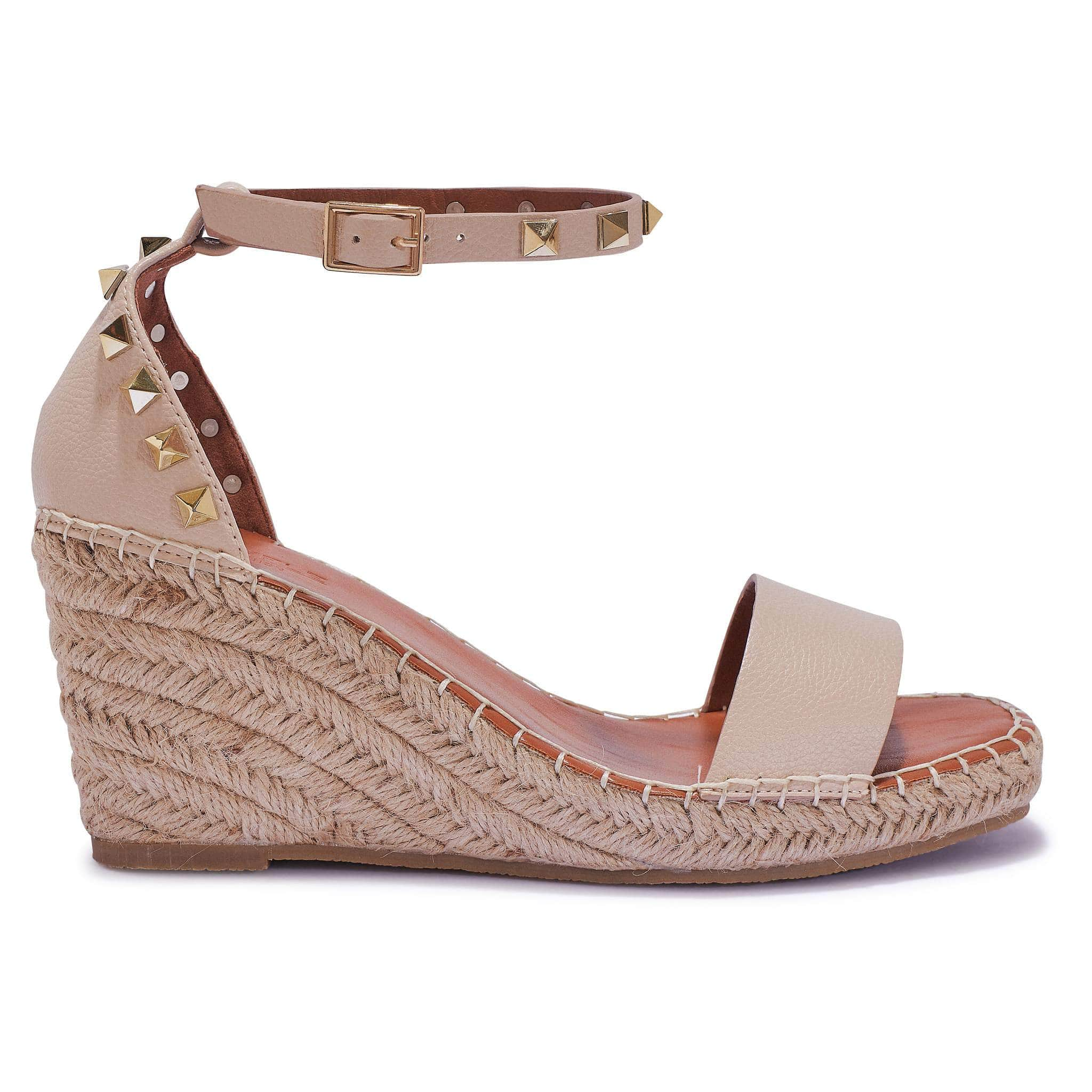 Nude PU Espadrille Wedges with Gold Stud Details