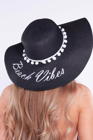 Black Pom Pom Embellished Straw Sun Hat