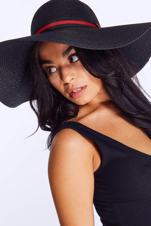 Black Straw Hat with Red Trim