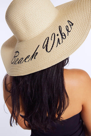 Cream Straw Beach Vibes Sun Hat
