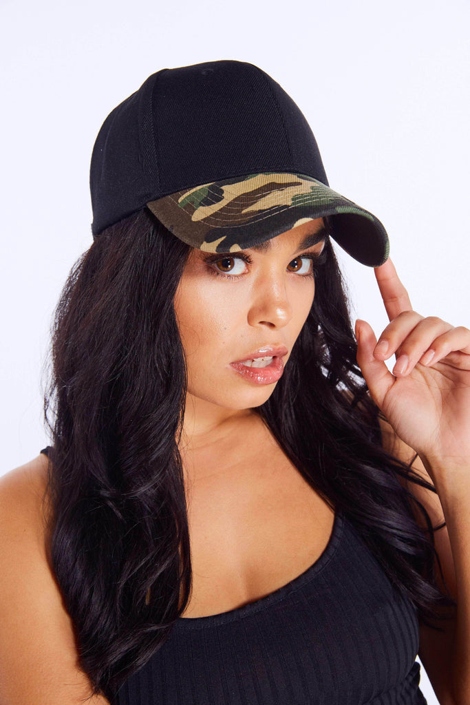 Black Baseball Cap with Camo Peak