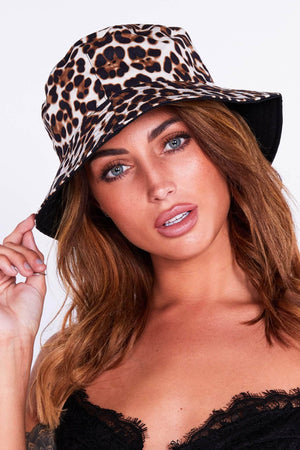 Cream Leopard Print Bucket Hat