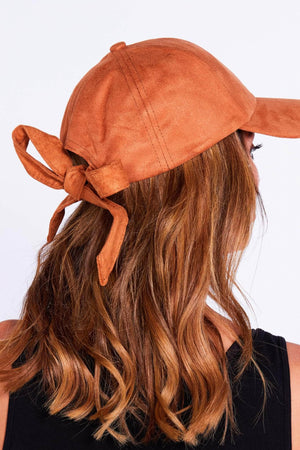 Tan Suede Baseball Cap with Bow