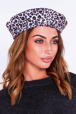 Grey Leopard Beret Hat