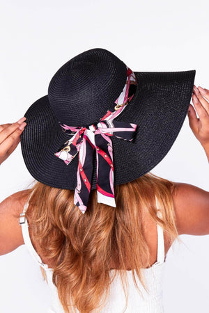 Black Floppy Straw Hat with Chain Print Scarf
