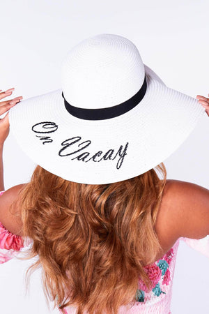 White On Vacay Straw Floppy Beach Hat