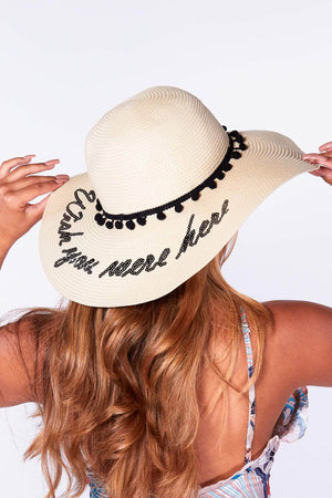 Nude Wish You Were Here Pom Pom Straw Hat