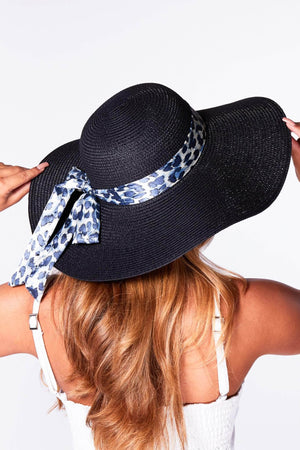 Black Straw Hat with Blue Leopard Band