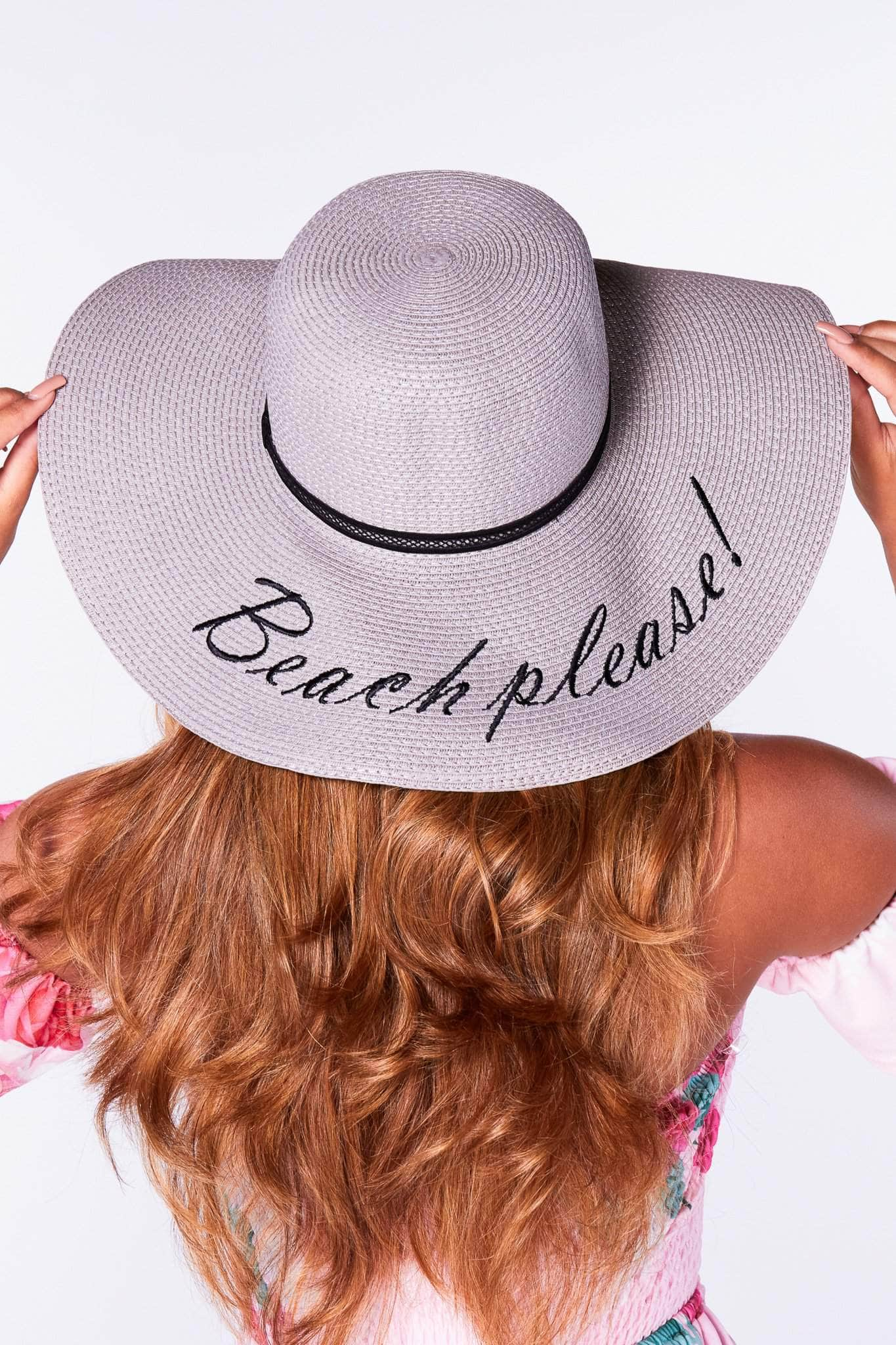 Grey Beach Please Straw Floppy Hat