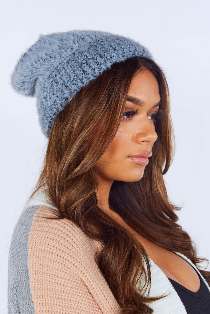 Grey Faux Fur Beanie Hat