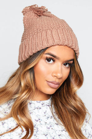 Camel Chunky Knit Beanie Hat