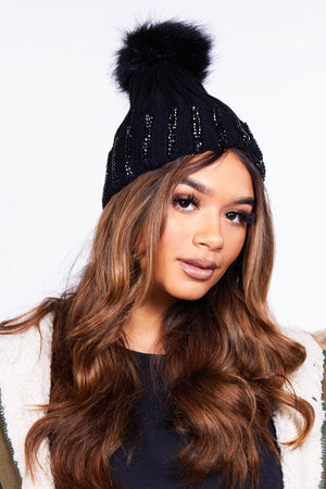 Black Pom Pom Beanie Hat with Beads