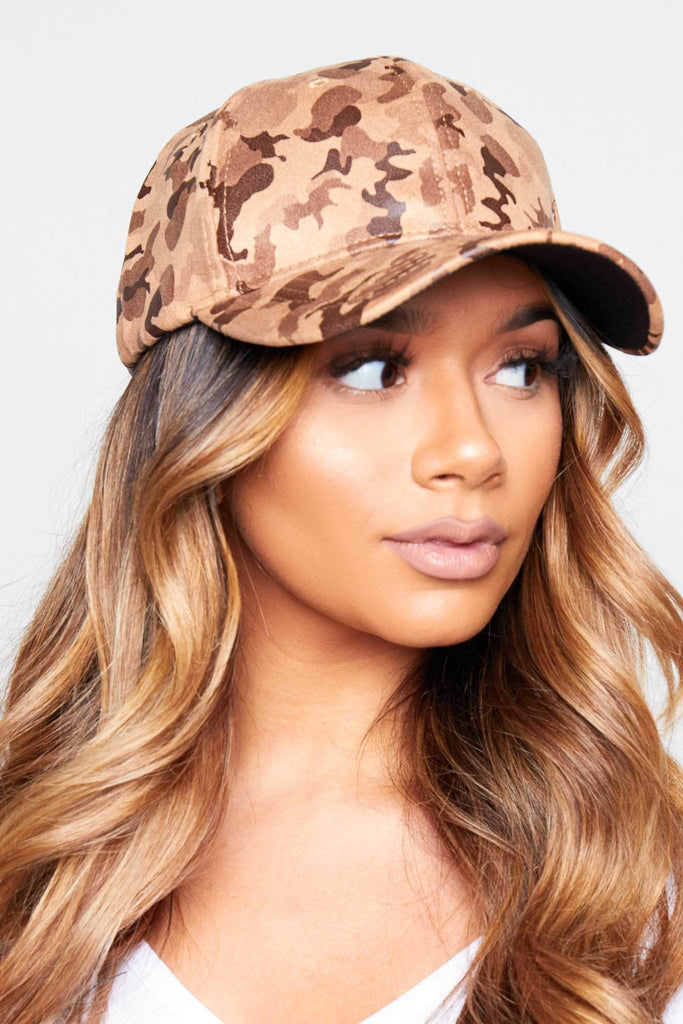 Brown Camo Printed Baseball Cap
