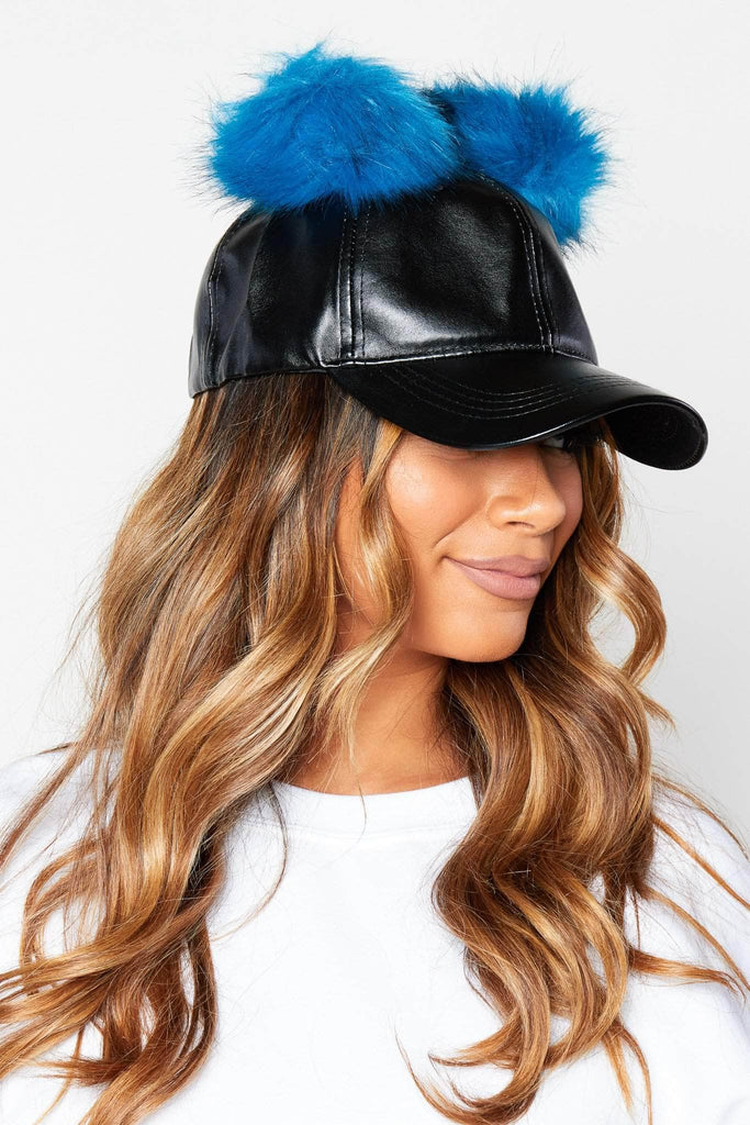 Black Pu Baseball Cap with Blue Pom Poms