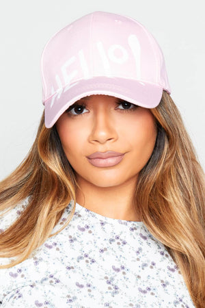 Light Pink Hello Baseball Cap