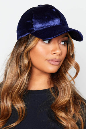 Navy Velour Baseball Cap