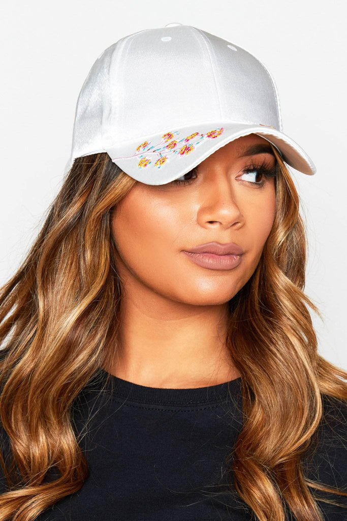 White Satin Floral Embellished Cap
