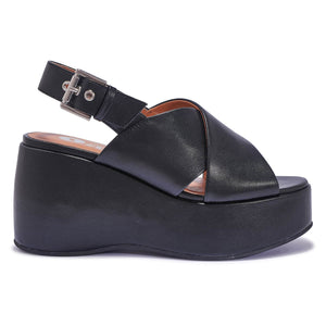 Black Pu Cross Strap Platform Sandals