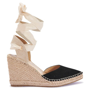 Black Lace Up Espadrille Wedges