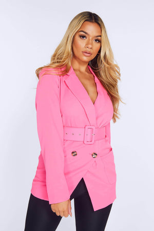 Hot Pink Double Breasted Belted Blazer