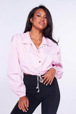 Pink Cropped Shell Jacket