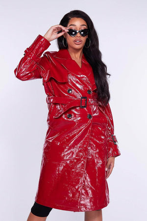 Red Wet Look Trench Coat