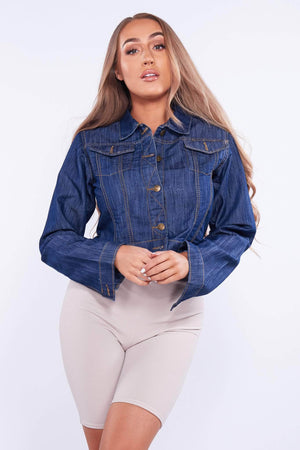Dark Blue Cropped Denim Jacket