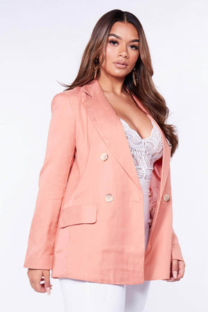 Peach Oversized Double Breasted Blazer