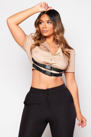 Khaki Seat Belted Jacket Crop Top
