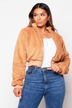 Mocha Teddy Cropped Jacket
