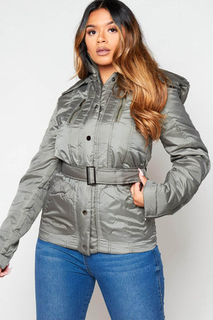 Green Padded Puffer Coat with Hood